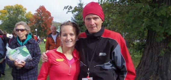 Nicole Camp and Roger Twigg after the Twin Cities Marathon